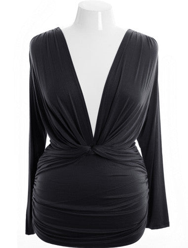 Plus Size Sexy French V Neck Black Long Top