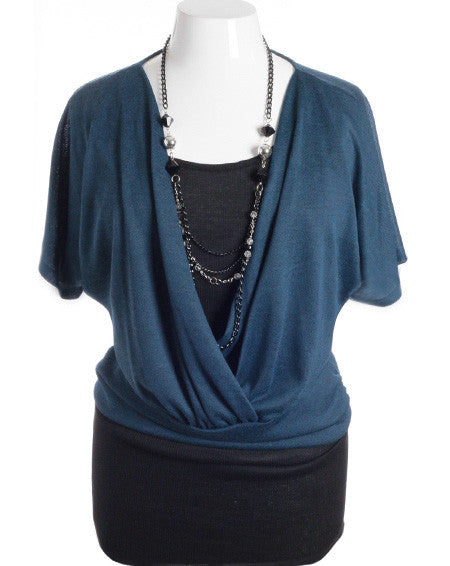 Plus Size Layered Jewelry Loose Bubble Teal Top