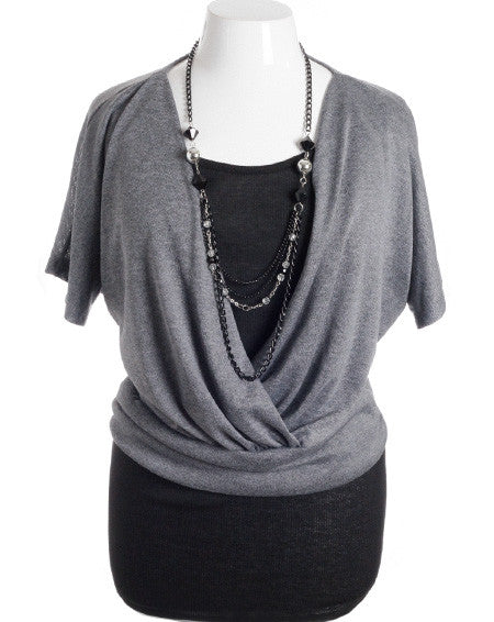 Plus Size Layered Jewelry Loose Bubble Grey Top