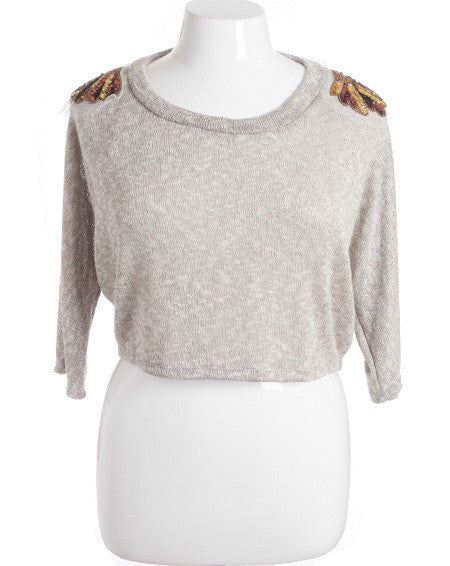 Plus Size Knit  Bedazzled Shoulders Cropped Tan Loose Top2