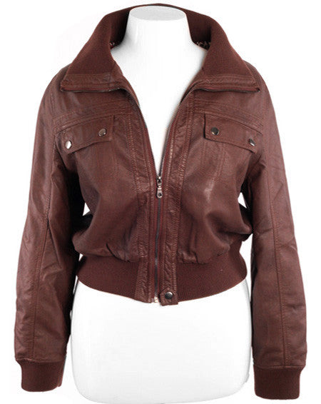 Plus Size Leather Bomber Brown Jacket