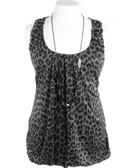 Plus Size Sexy Leopard Necklace Grey Bubble Top