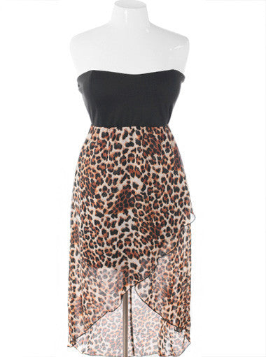 Plus Size Layered Leopard Lace Tube Dress