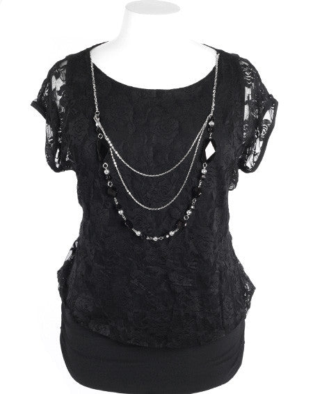 Plus Size Detailed Lace Chain Necklace Black Blouse