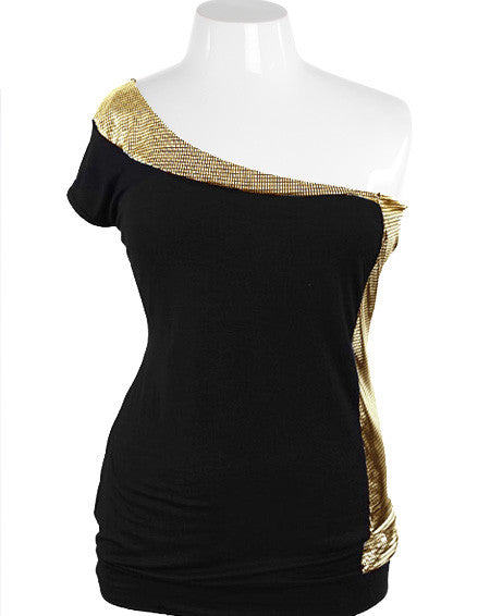 Plus Size One Shoulder Disco Sexy Gold Top