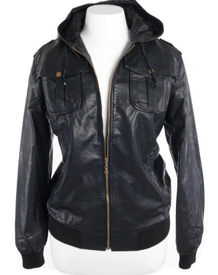 Plus Size Sexy Leather Biker Hoodie Black Jacket