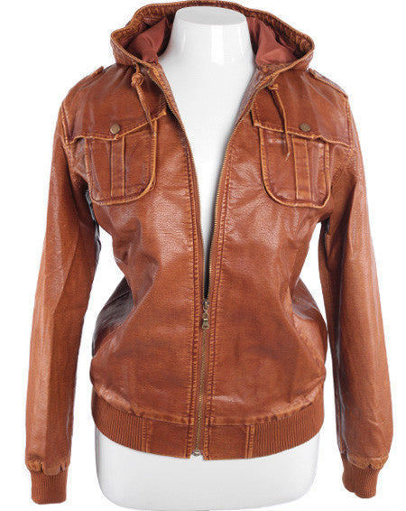 Plus Size Sexy Vintage Leather  Hoodie Tan Jacket