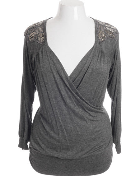 Plus Size Sexy Shoulder Grey Long Sleeve