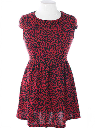 Plus Size Shoulder Cap Leopard Red Dress