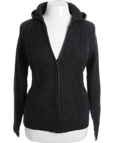 Plus Size Adorable Ribbed Sweater Black Hoodie