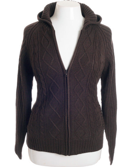 Plus Size Adorable Ribbed Sweater Brown Hoodie