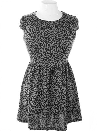 Plus Size Shoulder Cap Leopard Grey Dress