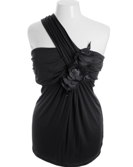 Plus Size Sexy Floral Pleat Strap Black Top