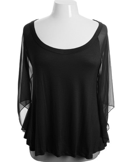 Plus Size See Through Lace Sleeves Black Blouse
