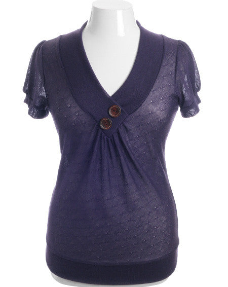 Plus Size See Though Wooden Buttons Purple Top