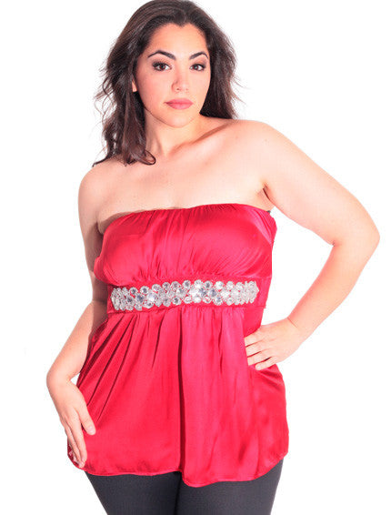 Plus Size Jewel Silky Satin Red Tube Top