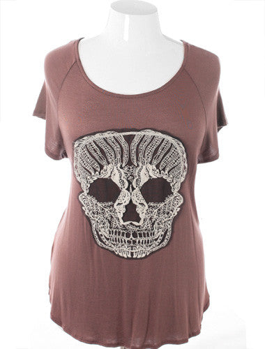 Plus Size Open Back Punk Rock Taupe Top