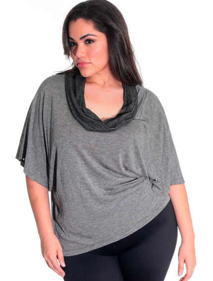 Plus Size European Cowl Neck Loose Top