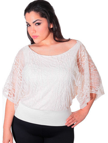Plus Size See Through Lace Loose White Top