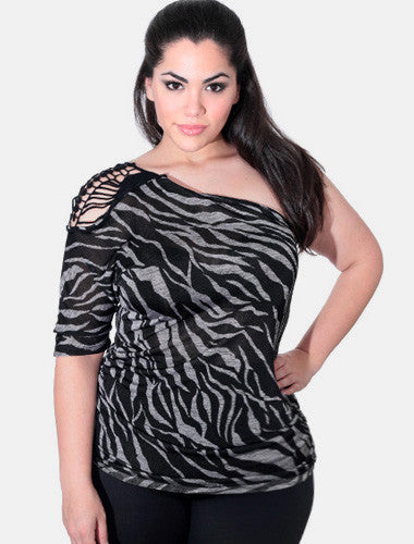 Plus Size Summer One Shoulder Zebra Black Top