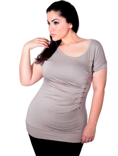 Plus Size Sexy Pleat Button Grey Top