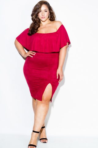 Plus Size Suede Glam Ruffled Sexy Off Shoulder Dress