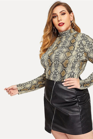Plus Size Mock Collar Long Sleeve Snake Print Top
