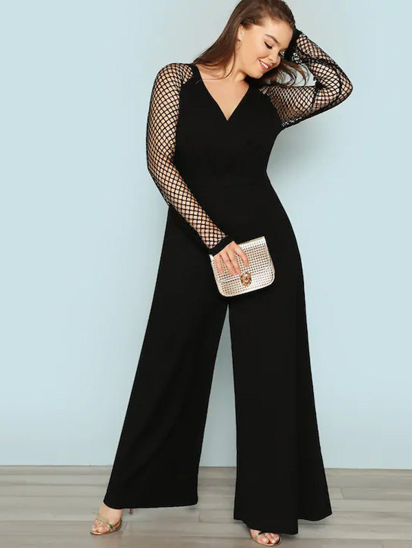 Plus Size Fishnet Sleeve Wide Leg Jumpsuit