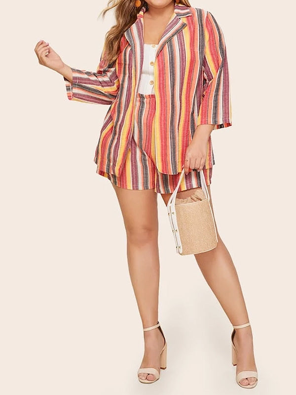 Plus Size Striped Blazer With Elastic Waist Shorts