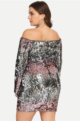 Plus Size Sequin Dress Elegant Party Dress