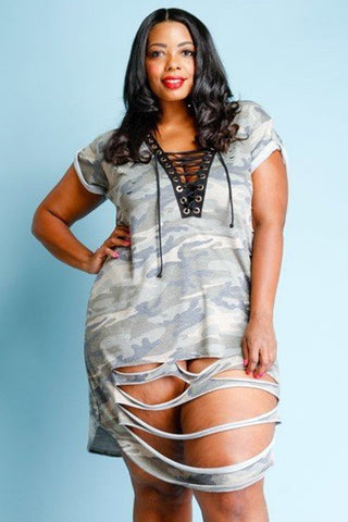 Plus Size Terry Camo Eyelet Tie Up Distressed Mini Dress