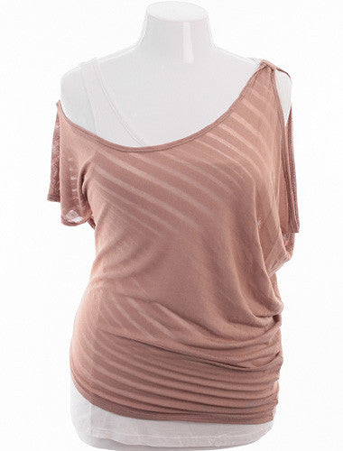 Plus Size See Through Summer Layered Taupe Top