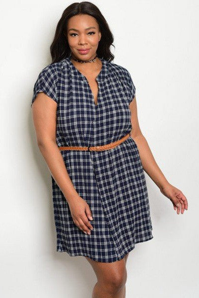 Belted Adorable Button Up Plus Size Dress - Navy