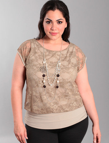 Plus Size Layered Lace Blouse Pearl Necklace Tan Top