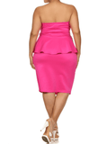 Plus Size Stolen Dance Peplum Pink Dress
