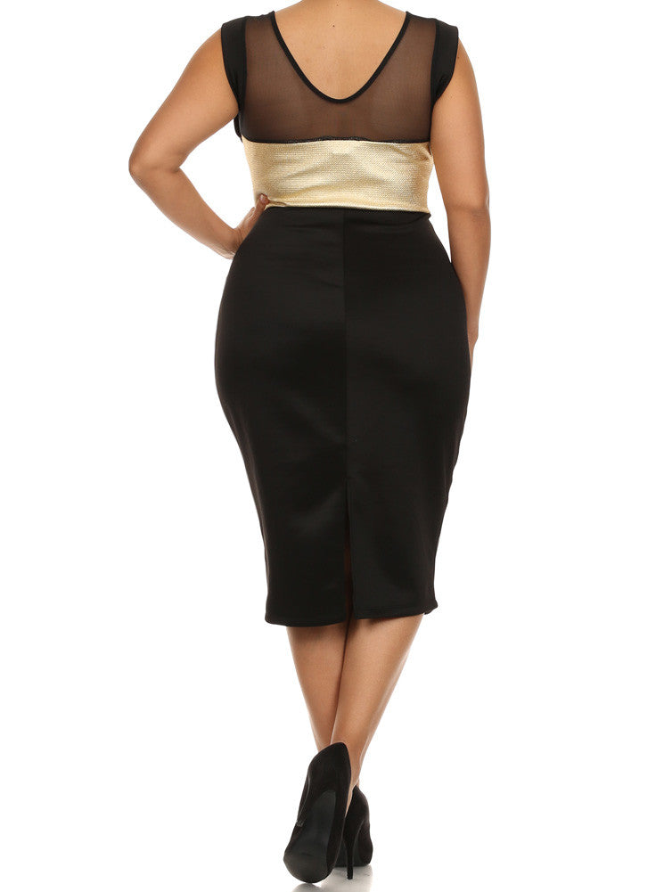 Plus Size Metallic Gold Striped Mesh Midi Dress