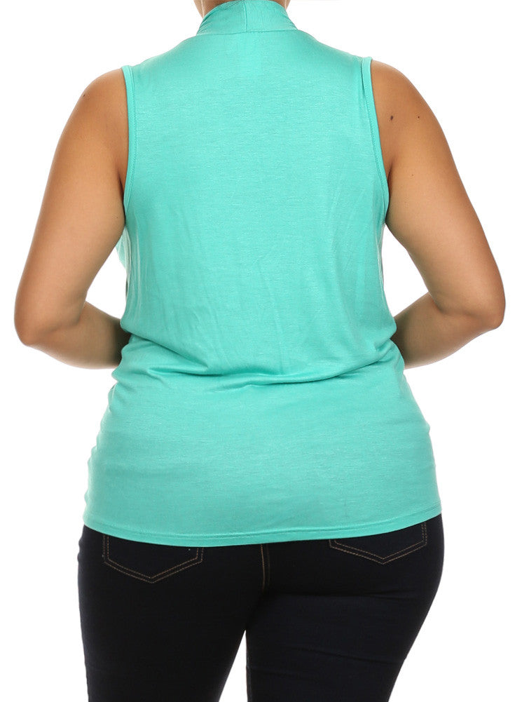Plus Size Flirty Front Knot Cross Over Teal Top