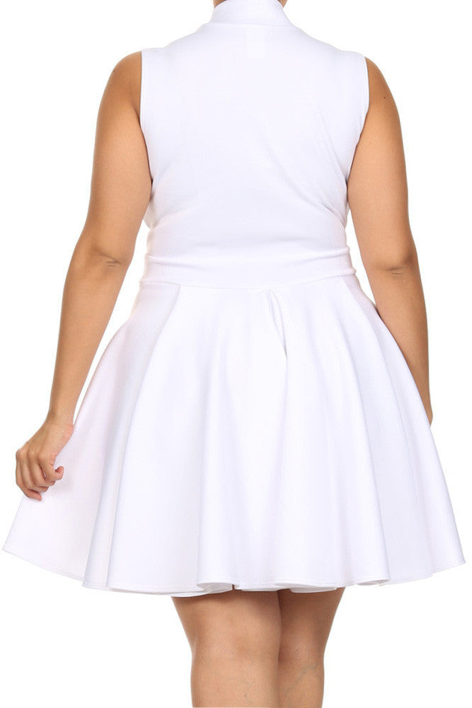 Plus Size Lively Deep V Neck White Skater Dress