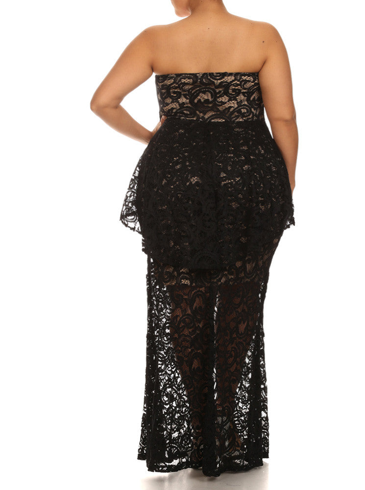 Plus Size Victorian Knit Lace Peplum Black Maxi Dress