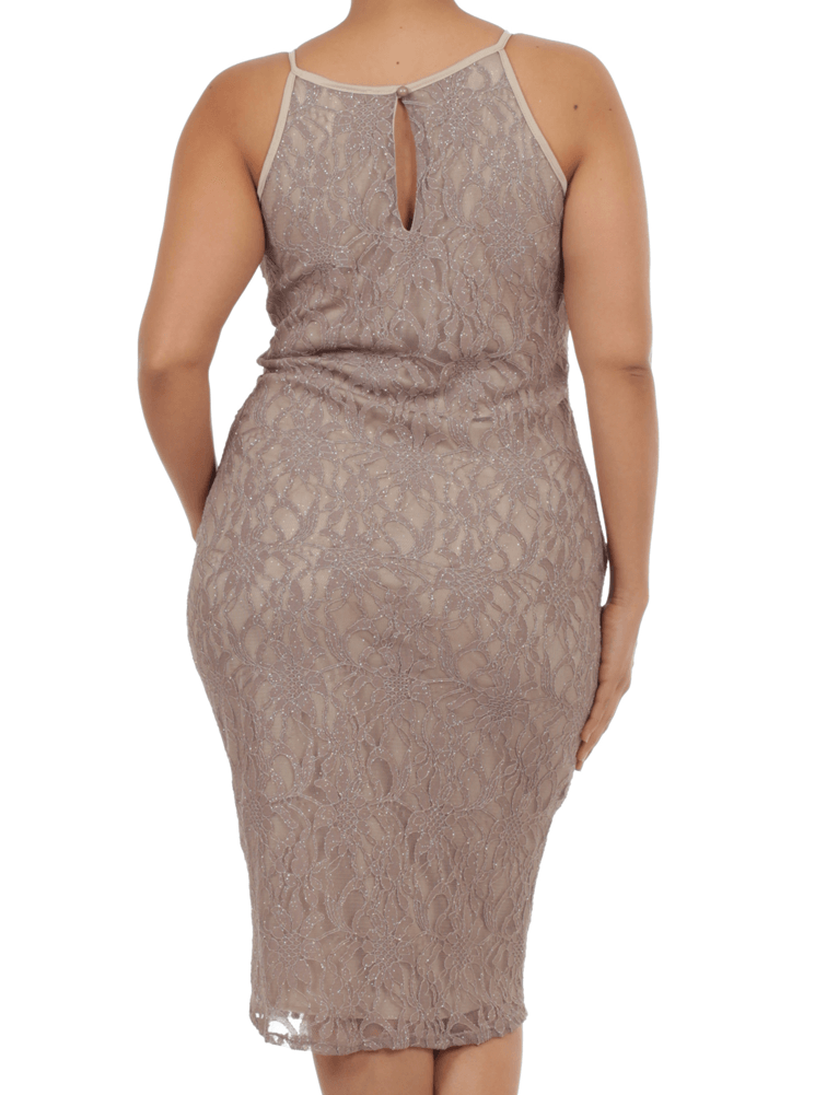 Plus Size Mesmerizing Floral Lace Midi Taupe Dress