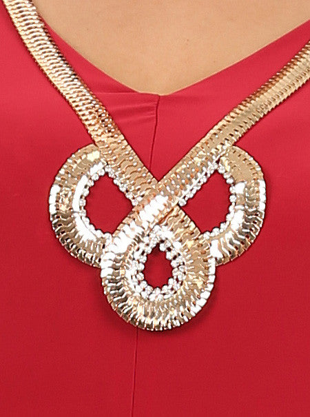 Plus Size Goddess Gold Necklace Red Top