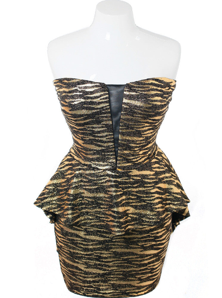 Plus Size Metallic Zebra Peplum Gold Dress