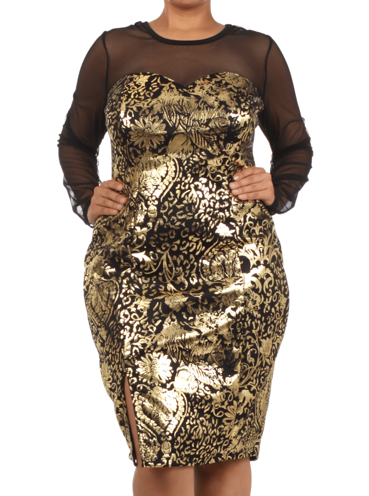Plus Size Golden Floral Scroll Mesh Sleeves Dress