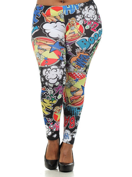 Plus Size Boooom Comic Leggings