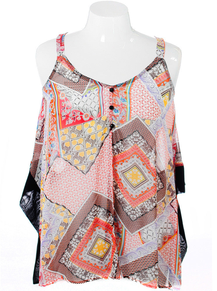 Plus Size Art Design Butterfly Front Orange Tunic