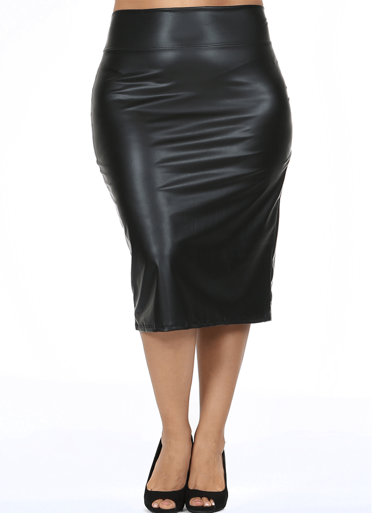 5e443b5bdd0 Plus Size Chic Faux Leather Midi Skirt – Plussizefix