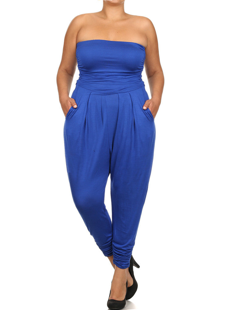 Plus Size Sexy Strapless Blue Jumpsuit