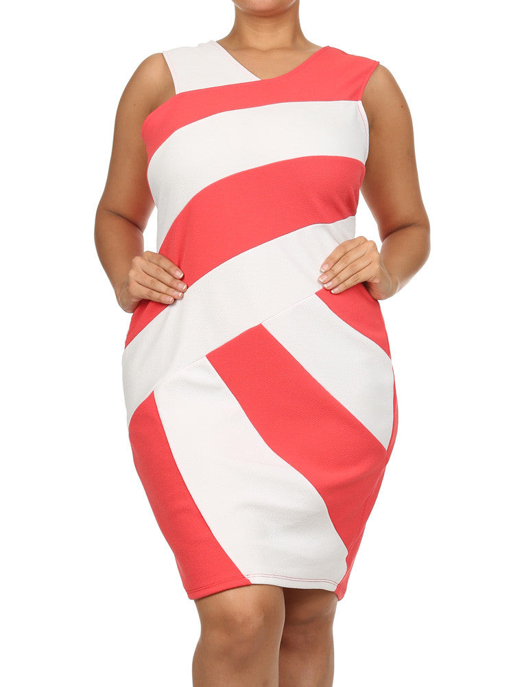 Plus Size Hot Asymmetric Colorblock Coral Dress
