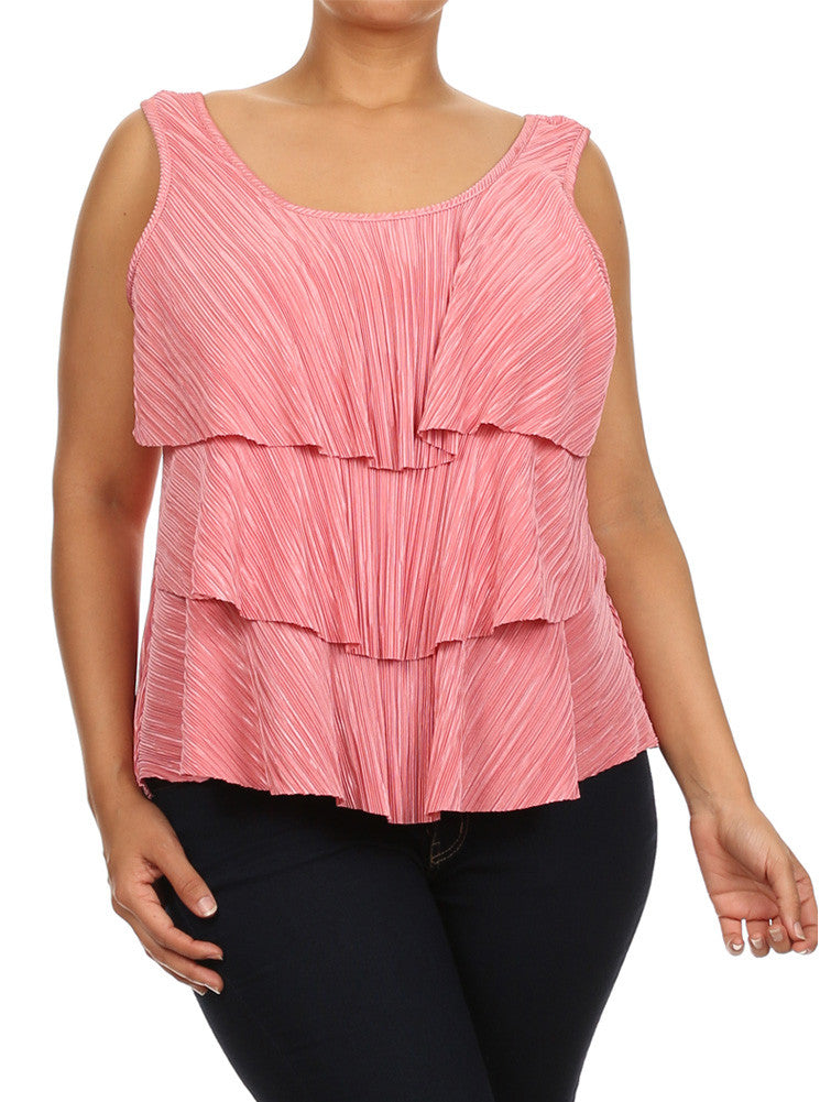 Plus Size Modish Layered Flowy Pink Top