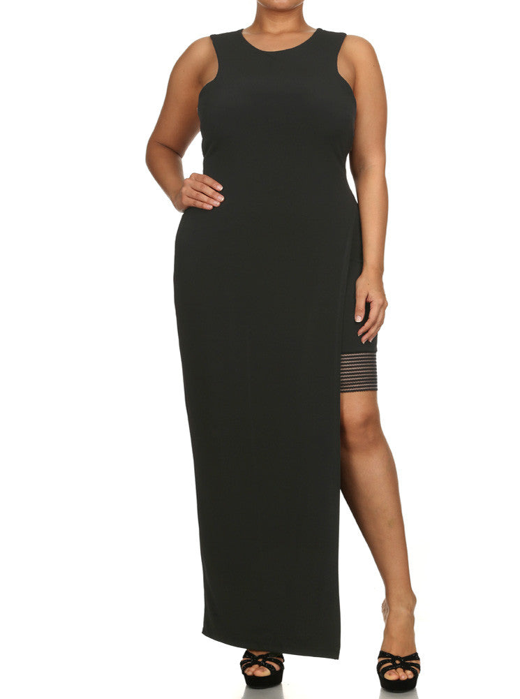 Plus Size Love Desire High Slit Maxi Bodycon Dress